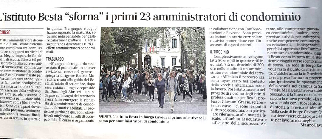 """L'istituto Besta di Treviso """"sforna""""i primi 23 amministratori di condominio"""