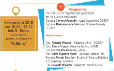"""Mercoledì 6 novembre a Roma – MIUR nella sala della Comunicazione """"Aldo Moro"""" si terra un Convegno per favorire e sostenere l'adozione del nuovo assetto didattico e organizzativo dei percorsi di istruzione professionale"""
