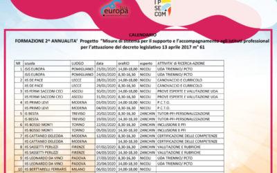 RETTIFICA calendario Attività di formazione Progetto – Misure di sistema per il supporto e l'accompagnamento agli istituti professionali per l'attuazione del decreto legislativo 13 aprile 2017 m° 61